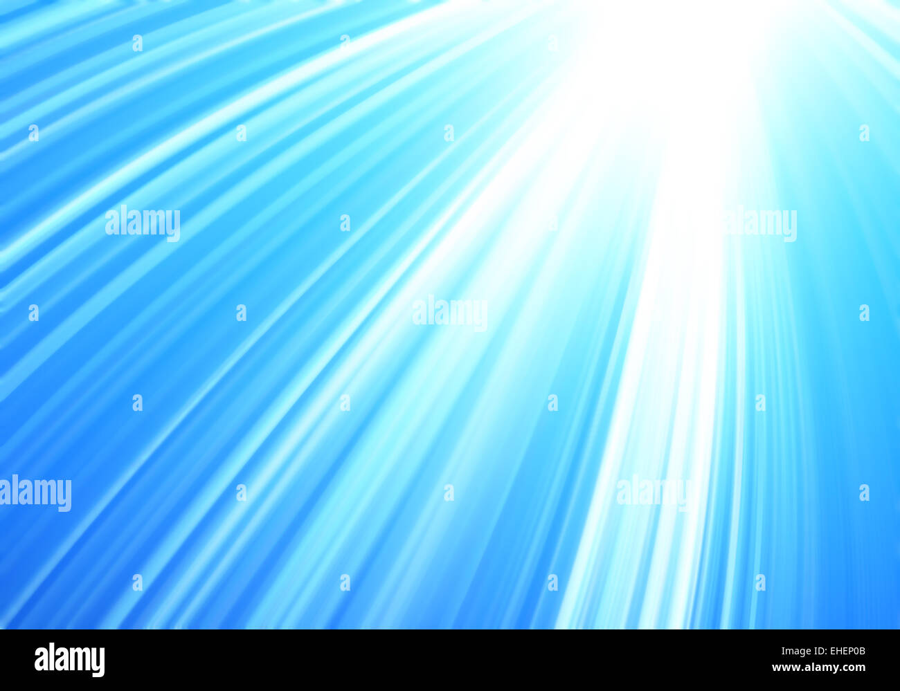 abstract rays of light on blu - Stock Image