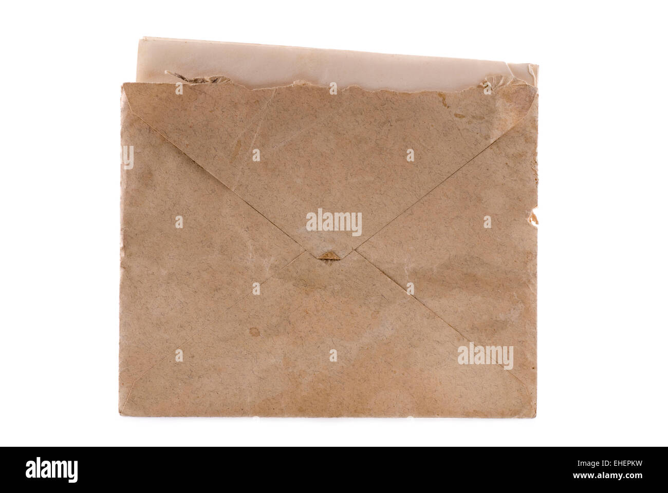 Old envelope with a letter inside. - Stock Image