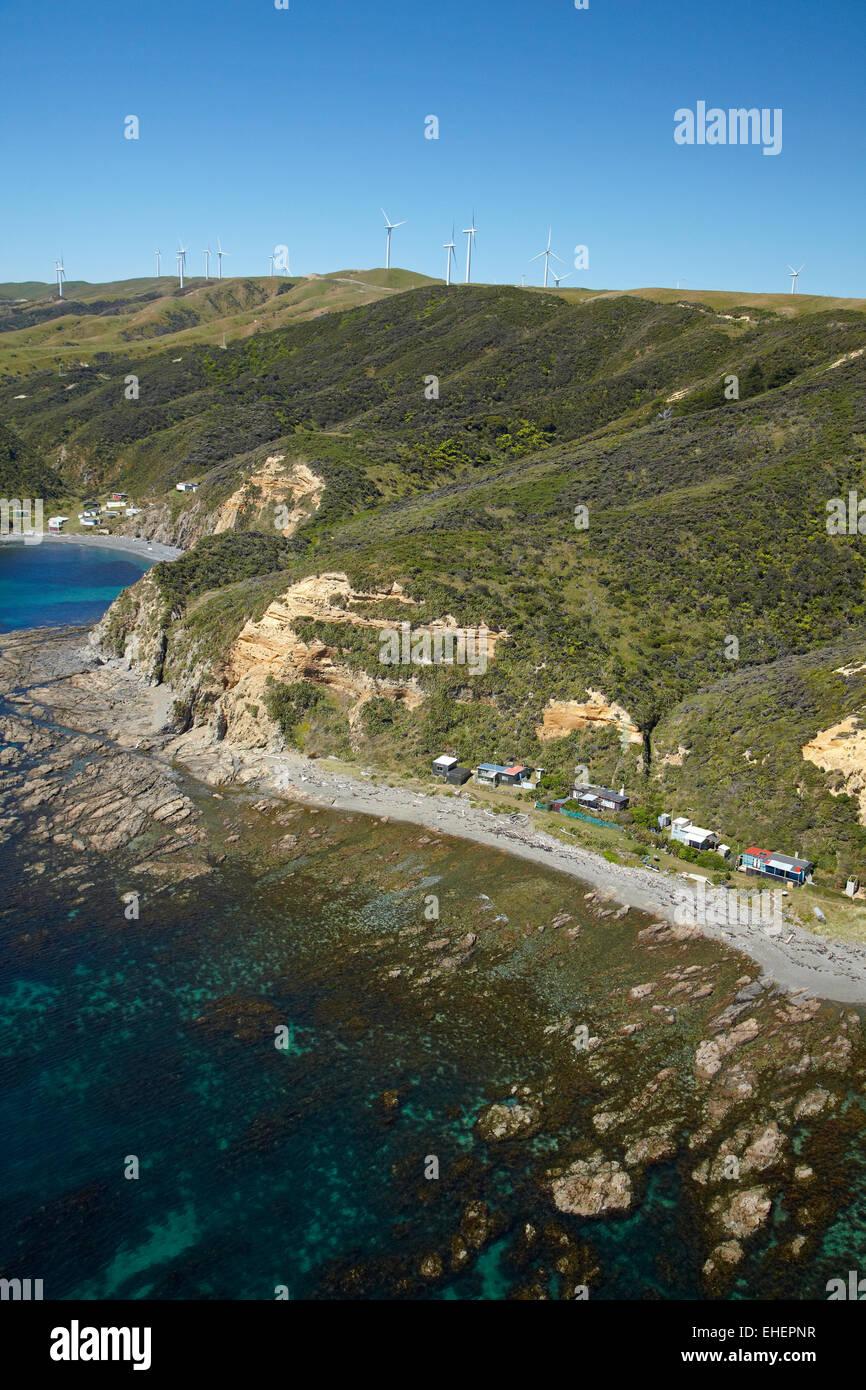 Fishing huts, Ohariu Bay, by Makara Beach, near Wellington ...