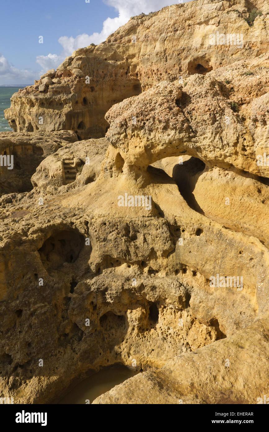 Rock formations of Algar Seco - Stock Image