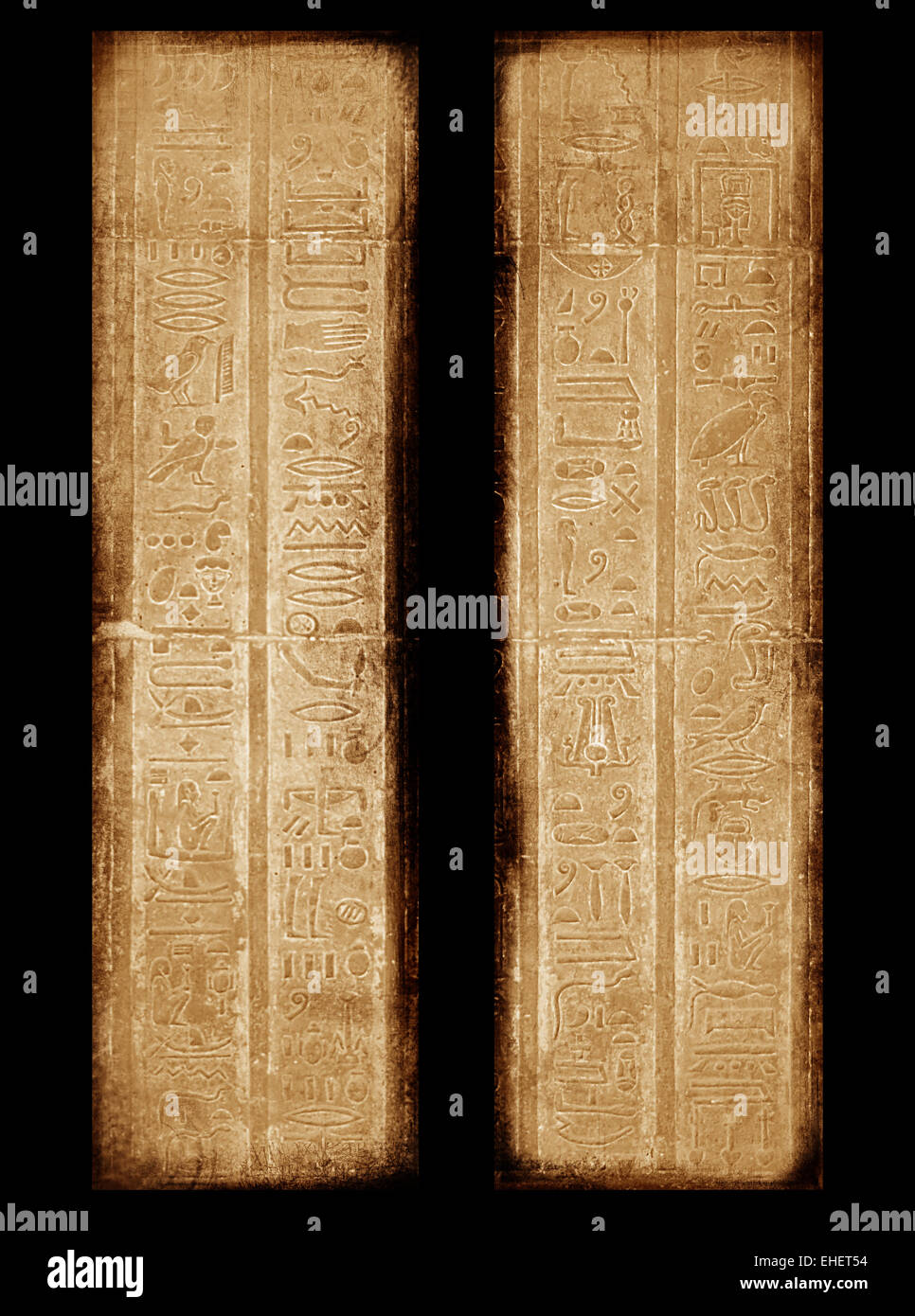 Egyptian sings on the wall - Stock Image