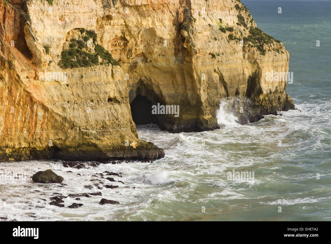 Coast with cave in Carvoeiro Stock Photo