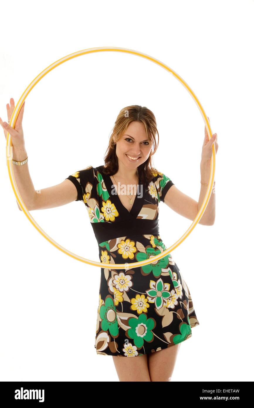 beautiful girl with hoop - Stock Image