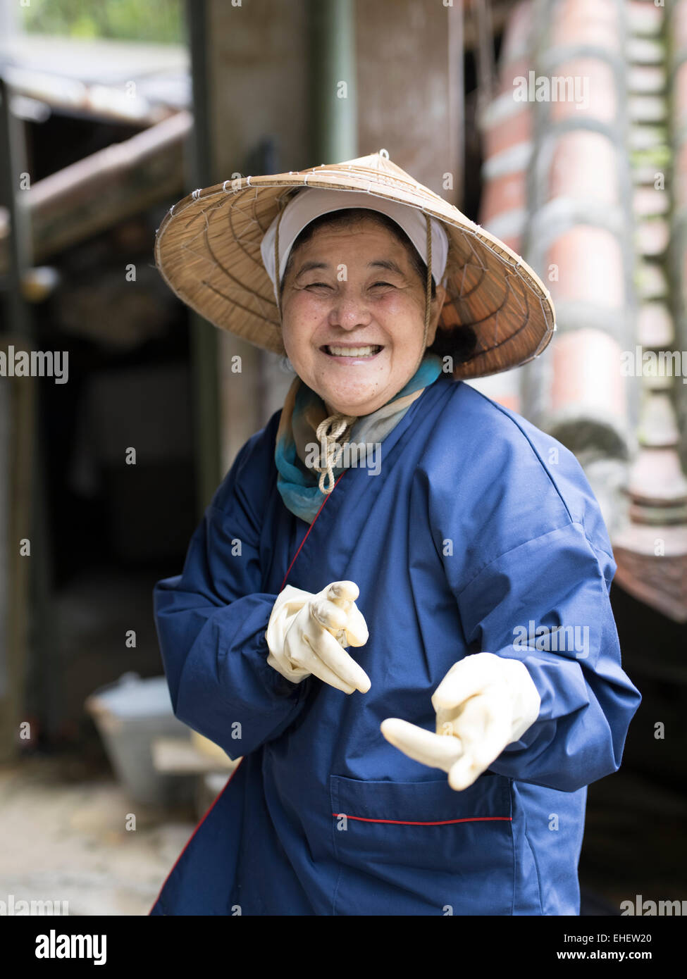 Elderly Okinawan woman / farmer wearing traditional conical hat, Yomitan, Okinawa - Stock Image