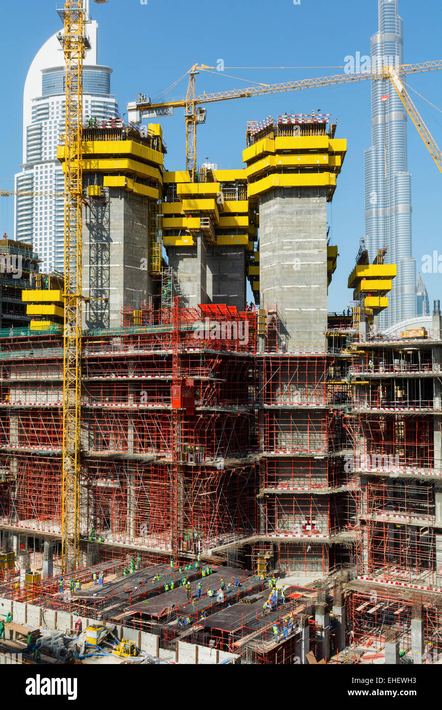 construction site of high-rise  apartment skyscraper tower in Dubai United Arab Emirates - Stock Image