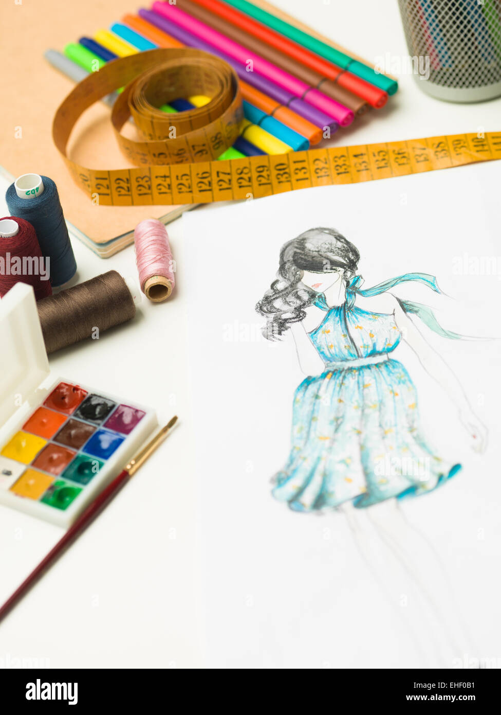 Closeup Of Fashion Designer Workspace With Sketches And Designing Stock Photo Alamy