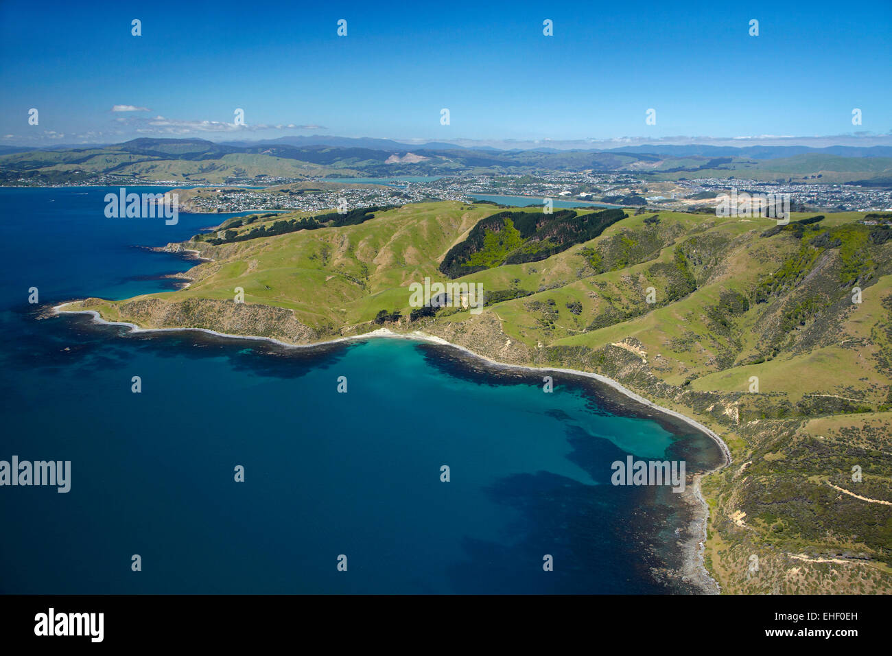 Open Bay, Porirua, Wellington, North Island, New Zealand - aerial - Stock Image