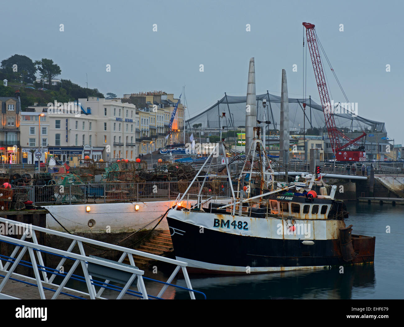Fishing boat in the harbour, Torquay, Devon, England UK Stock Photo