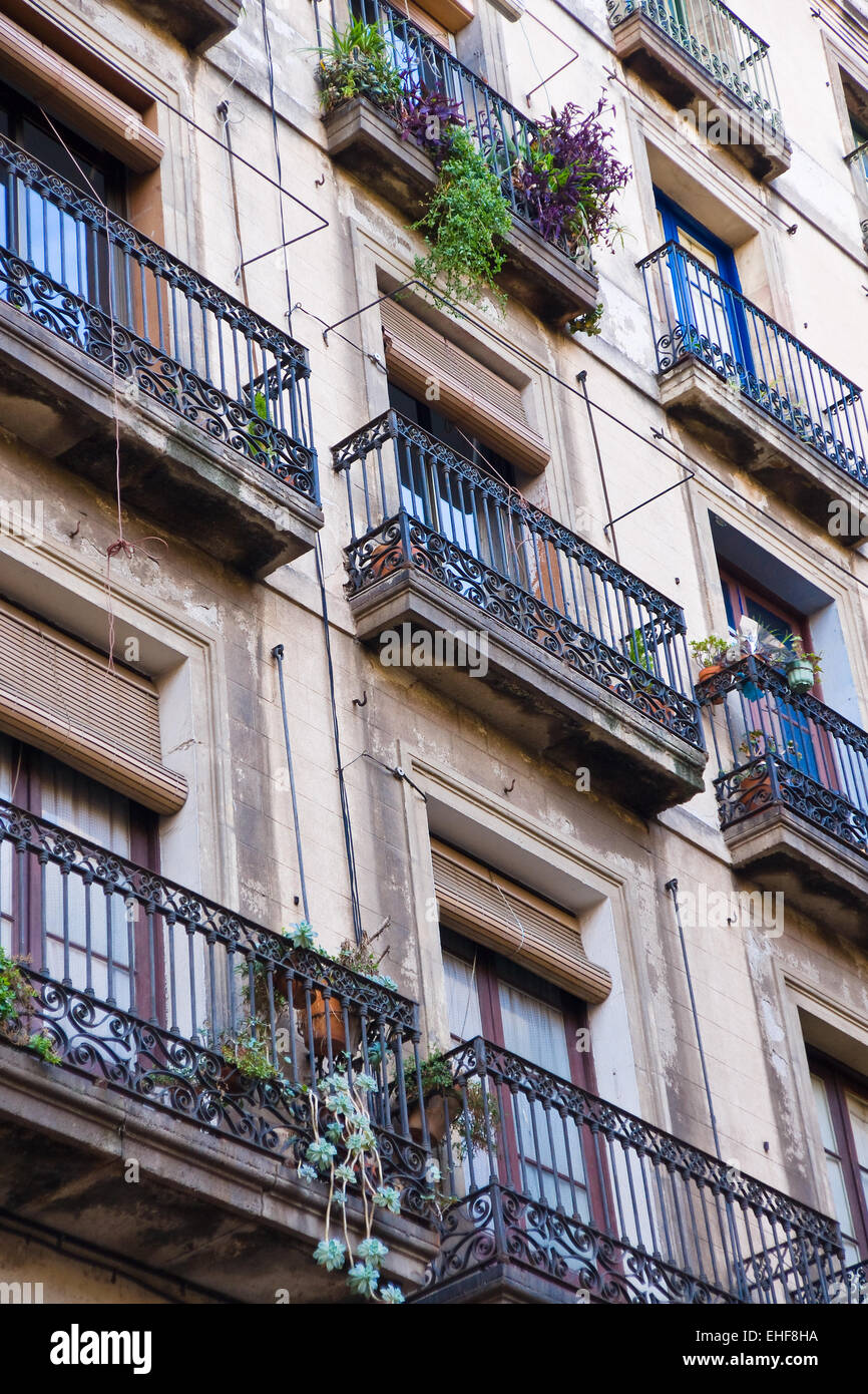 Beautiful facade in Barcelonas old town - Stock Image