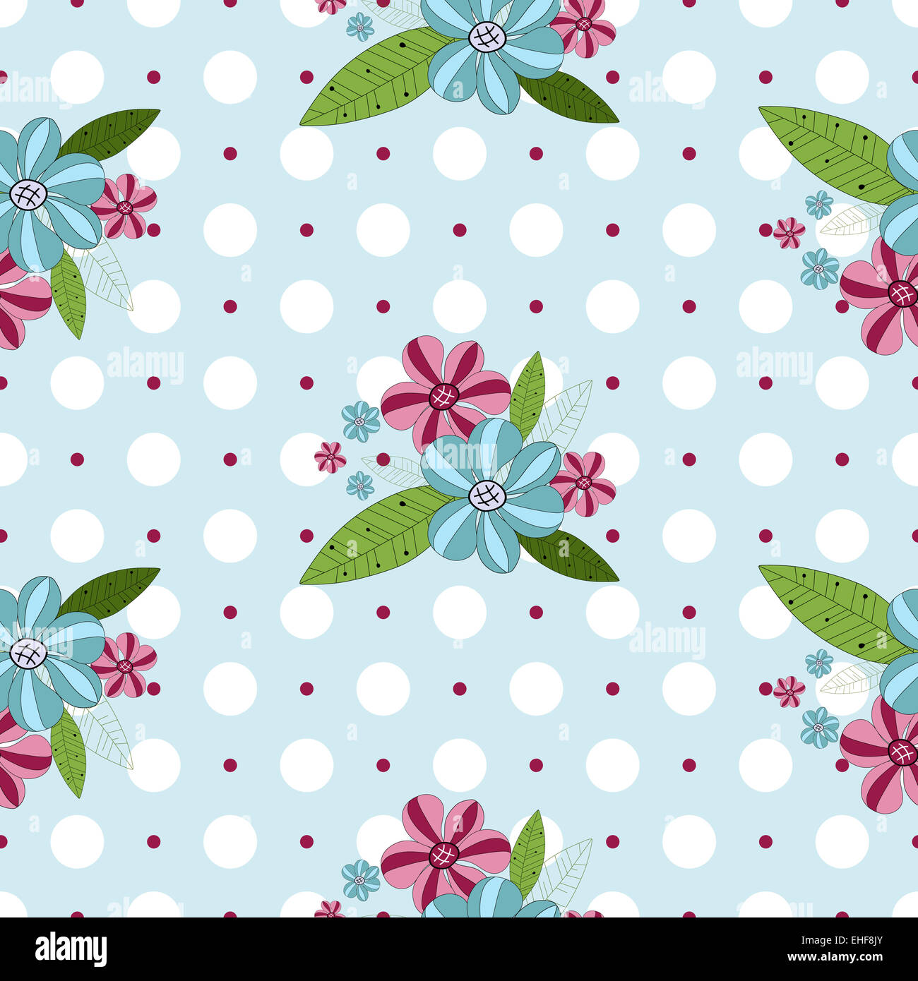Seamless gentle floral pattern - Stock Image