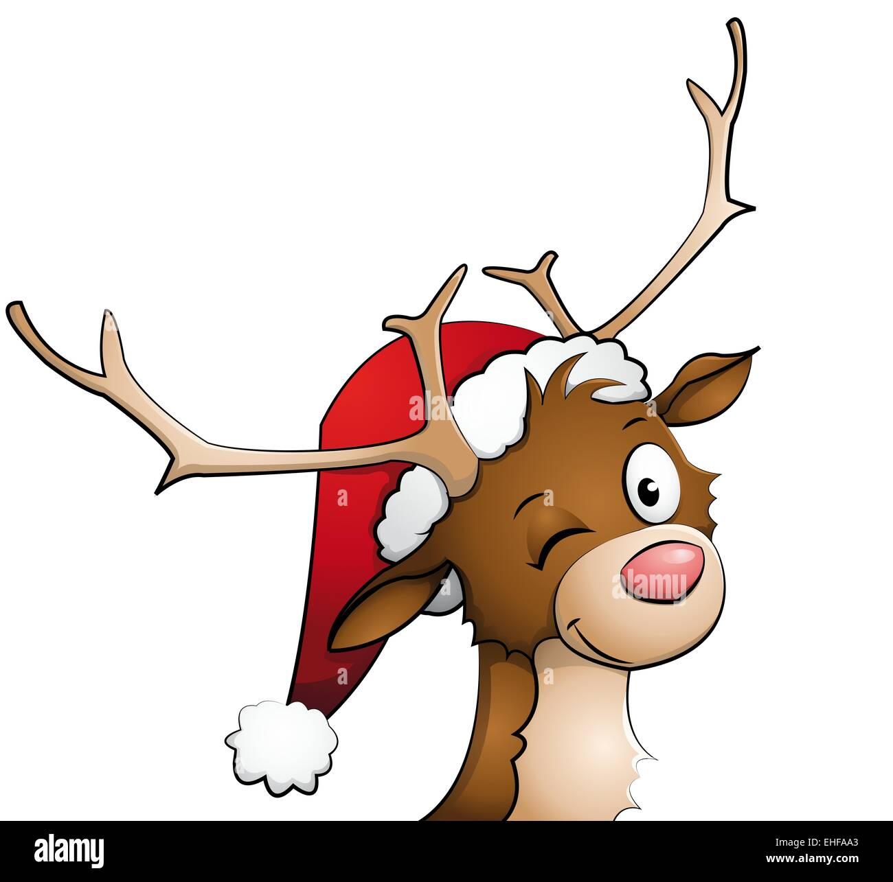 Reindeer with christmas hat on Stock Photo