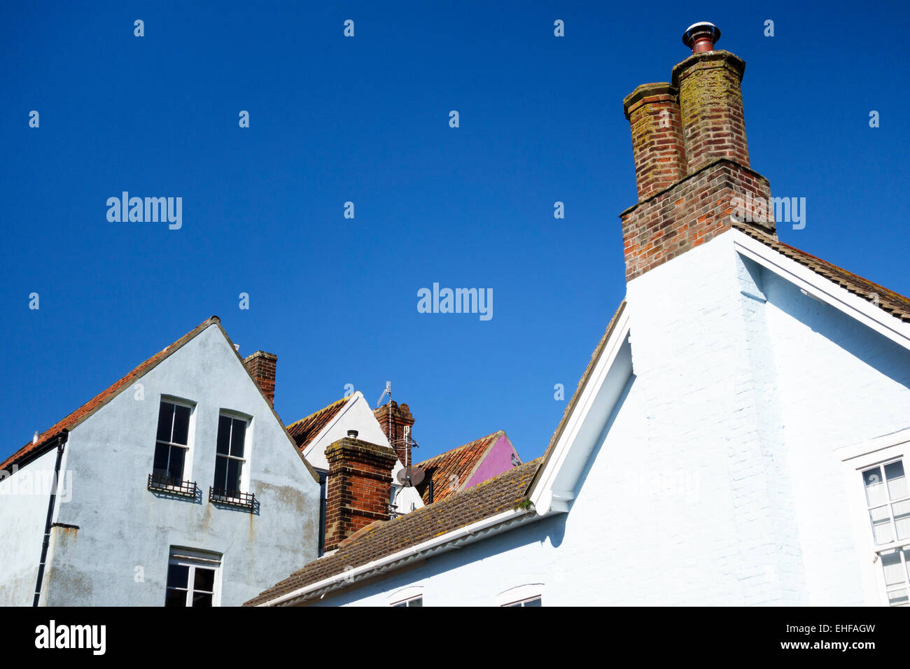 Aldeburgh, Suffolk, UK. Roofs of old houses in the town - Stock Image