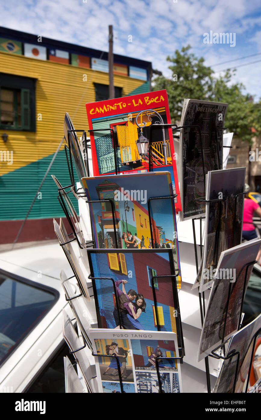 Argentina, Buenos Aires, La Boca, colourful postcards for sale - Stock Image