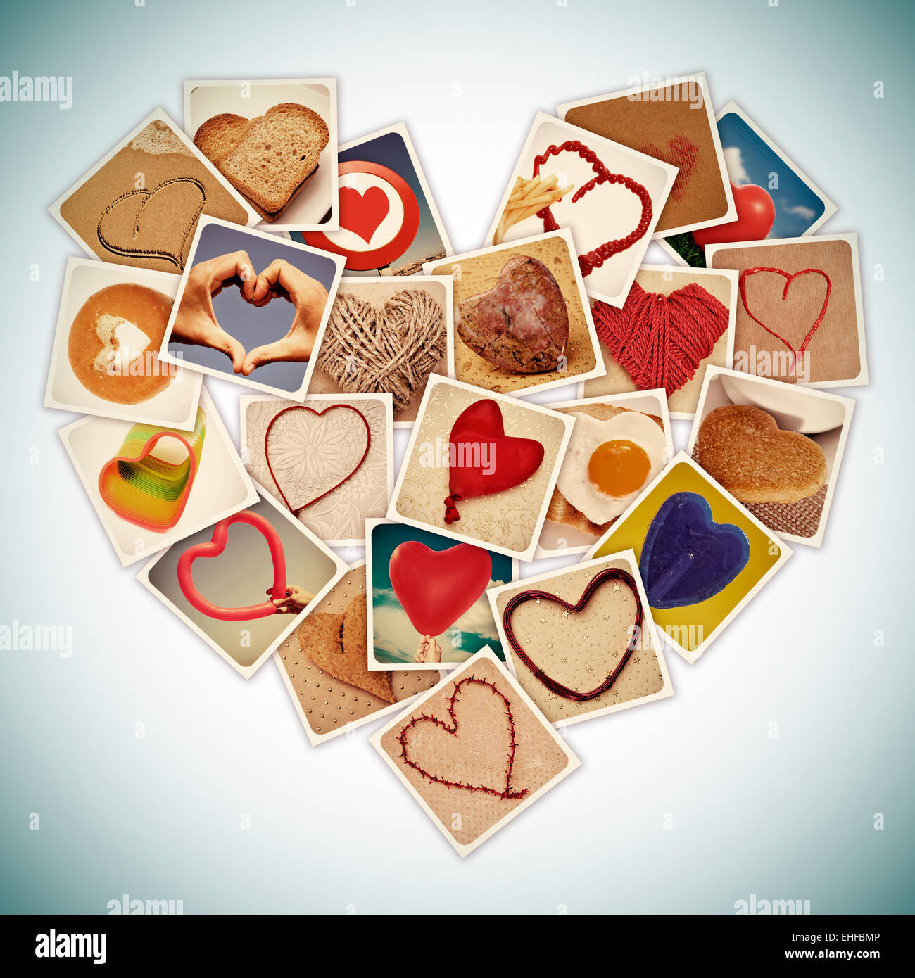 a collage of different snapshots of hearts and heart-shaped things, forming a heart, with a retro effect - Stock Image