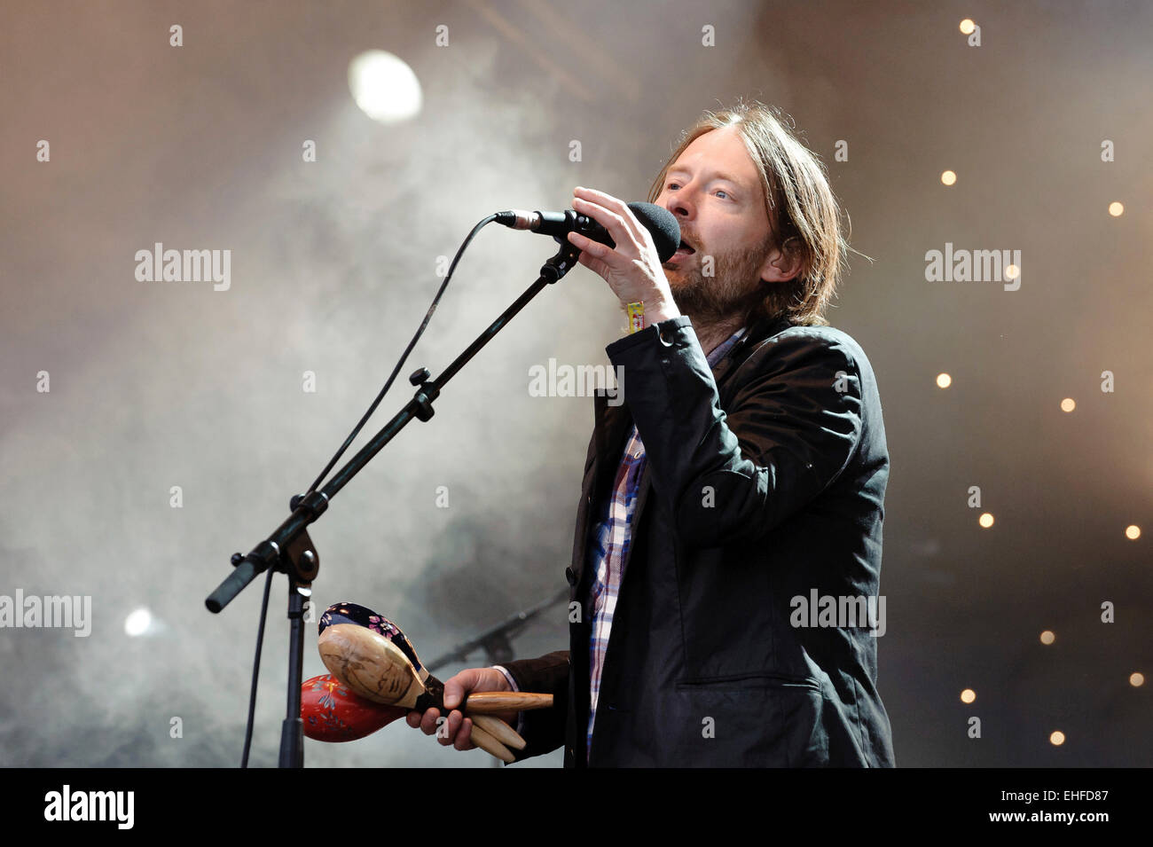 Radiohead surprise guests on the Park stage at Glastonbury festival Friday 24th June 2011. - Stock Image