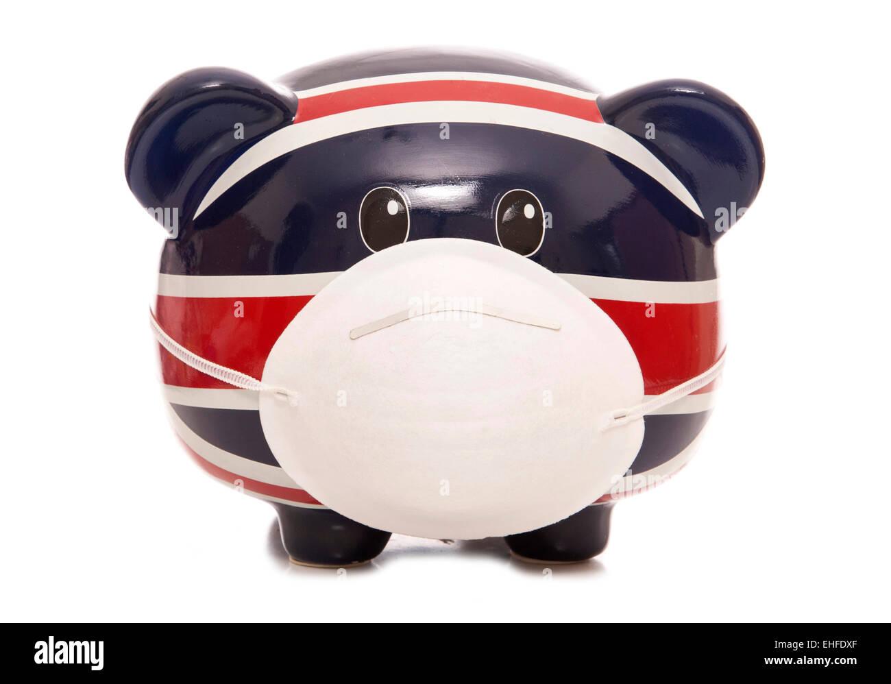 piggy bank wearing anti pollution mask cutout - Stock Image