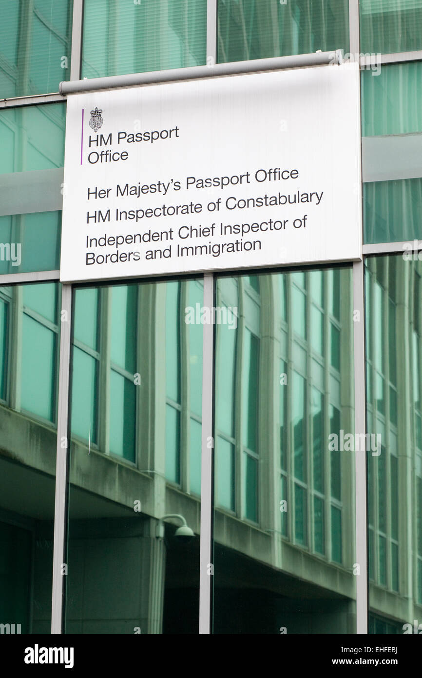 Singage outside the Identity and Passport Service Building Stock Photo