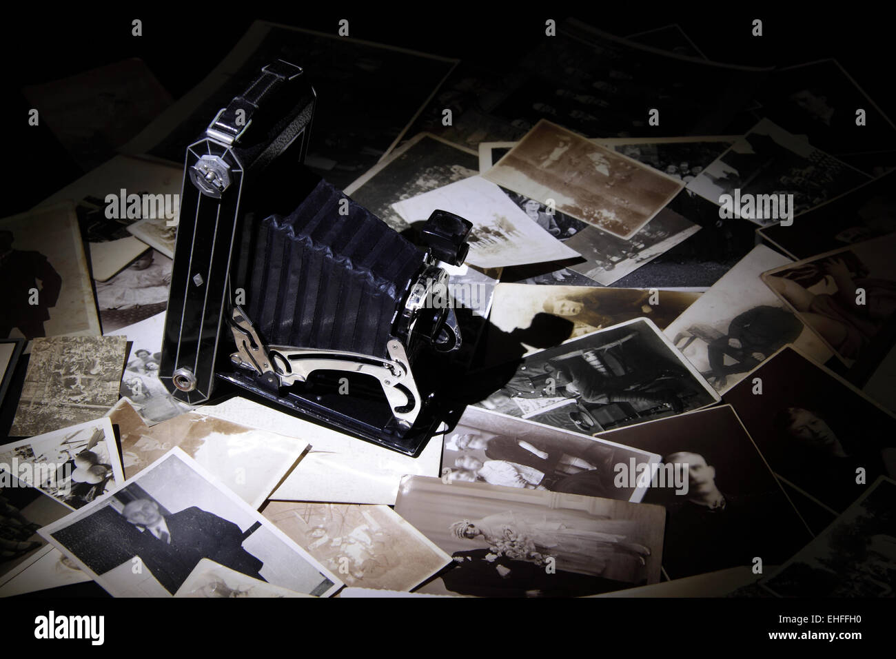 Vintage Camera on black and White images - Stock Image
