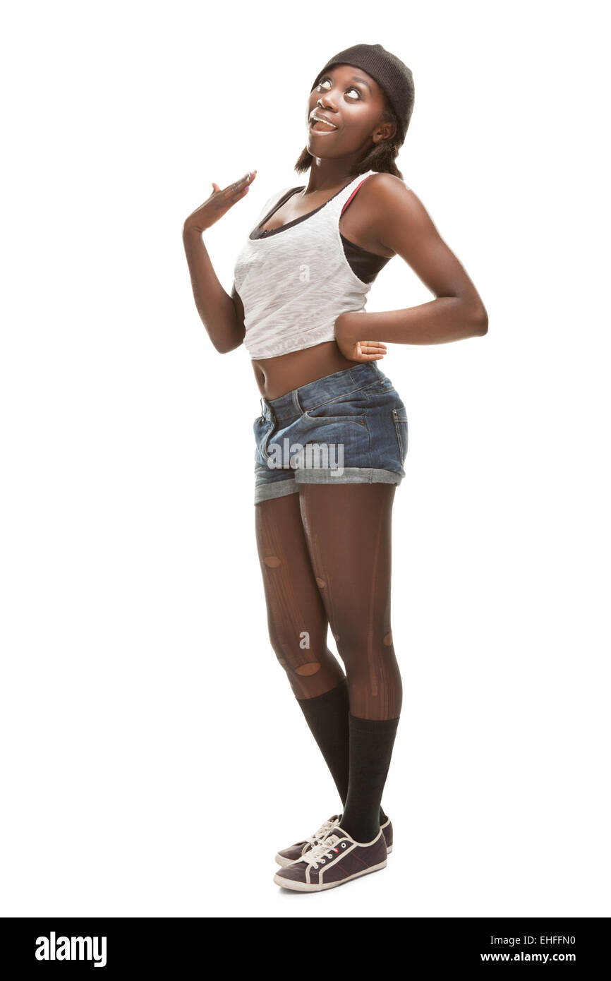 young african woman dancing hip-hop Stock Photo