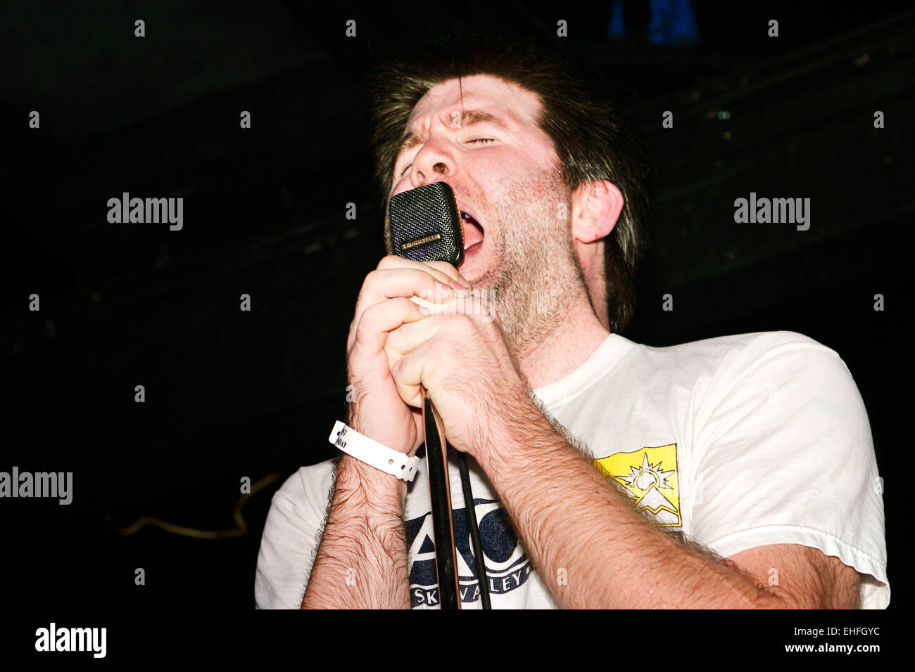 LCD Soundsystem live on the XFM stage at the TDK Cross Central Festival London. - Stock Image