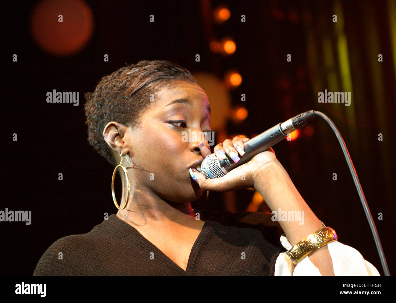 Estelle live on stage at Hero2Hero gig at the Shepherds Bush Empire London. - Stock Image