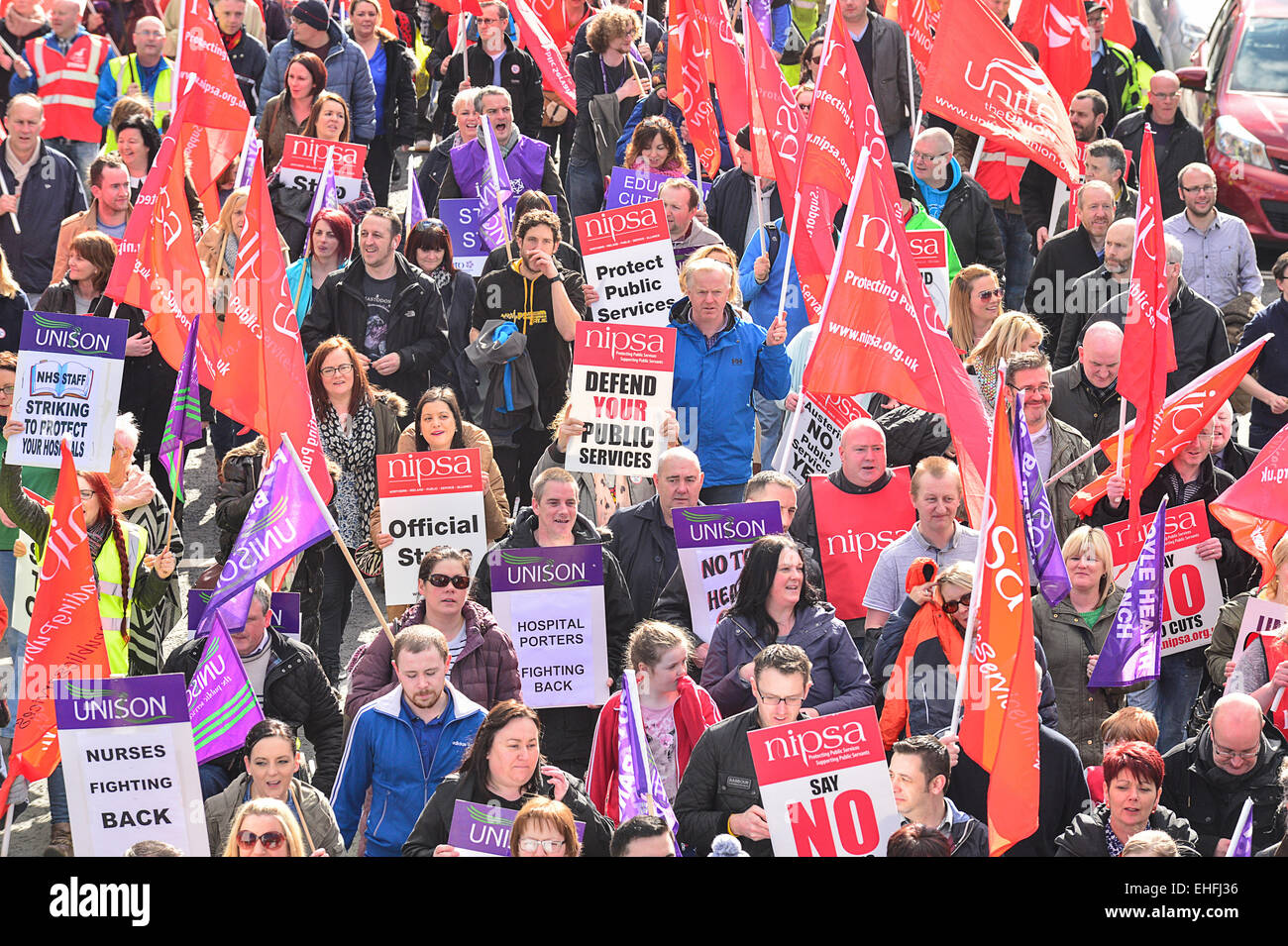 Londonderry, Northern Ireland, UK. 13th March, 2015. Trade unionists attend protest rally in Londonderry. Public - Stock Image