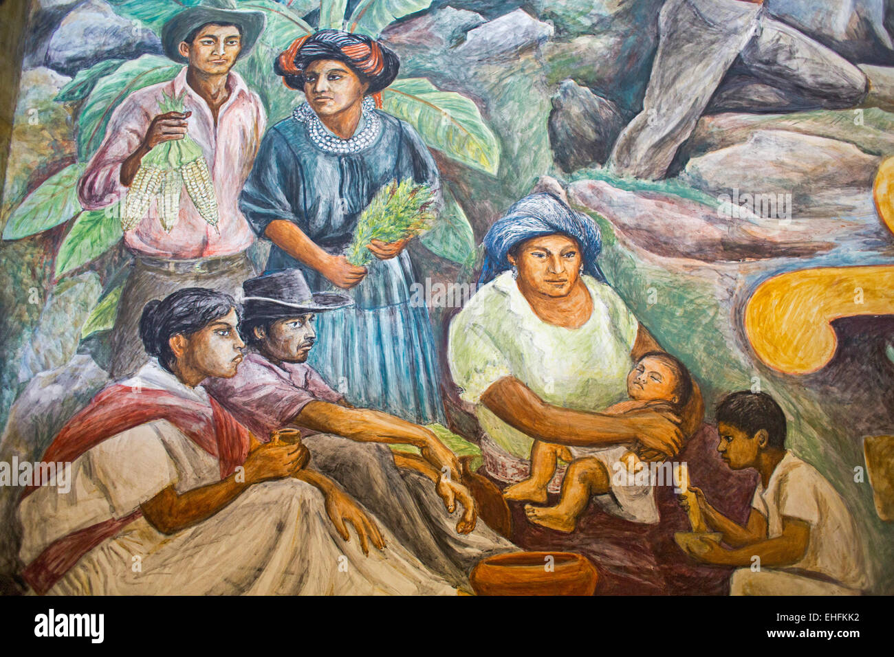 Oaxaca, Mexico - Details of a painting celebrating Oaxaca history and culture by Arturo García Bustos. Stock Photo