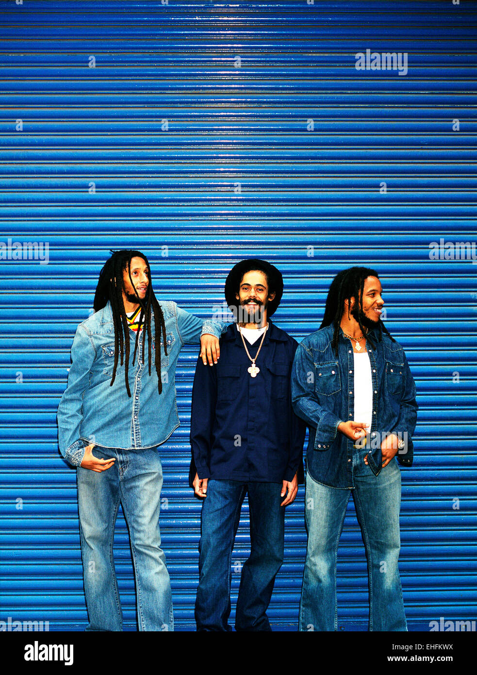 Portrait of Julian Damian and Steven Marley. - Stock Image