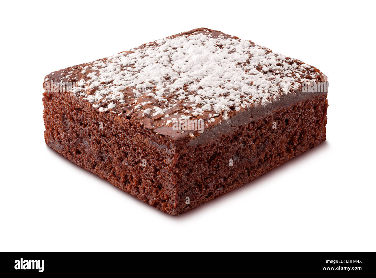 Brownie with Powdered Sugar isolated on white - Stock Image