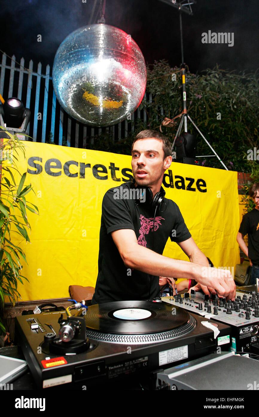 Steve Bug DJing at the TDK Cross Central festival at Kings Cross Goods Yard London. - Stock Image