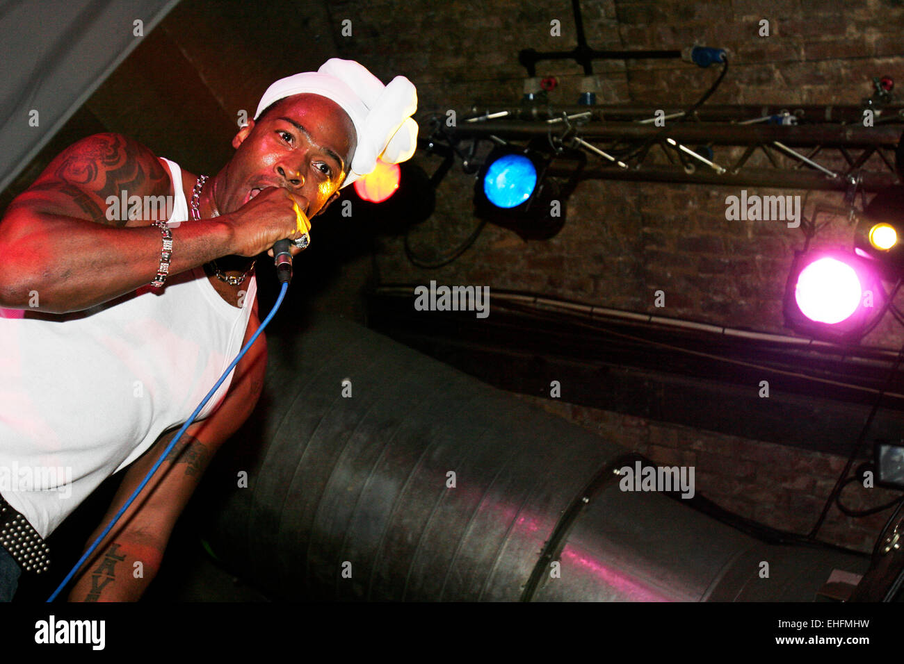 Felix from Oblit-r8 at UK Street Sounds at Cargo London. - Stock Image