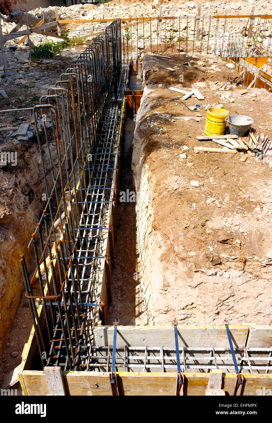 Wood formwork and reinforcing steel bars use in construction site