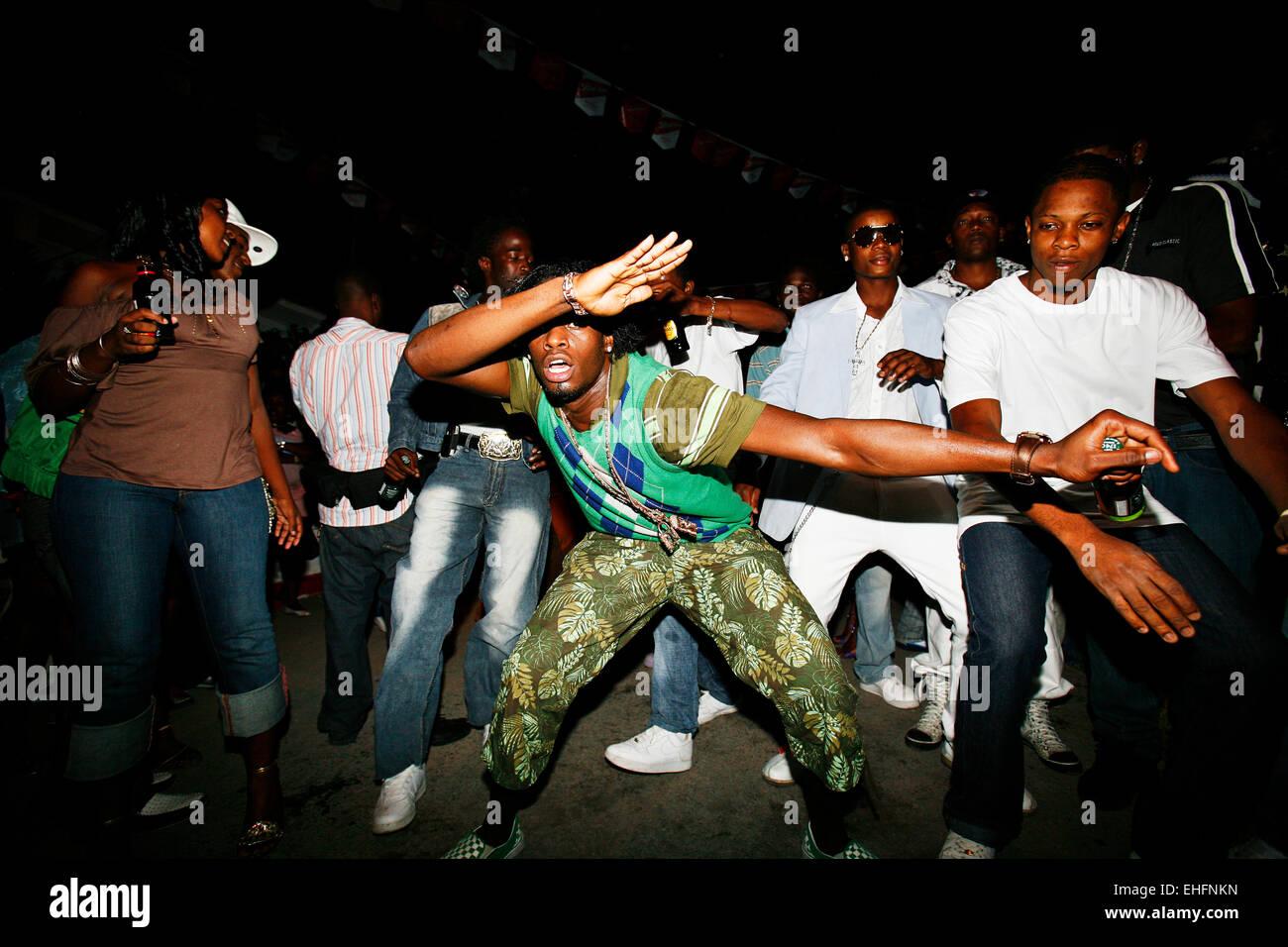 Ding Dong dancing at Gabba Sundays in Nannyville Kingston Jamaica. - Stock Image