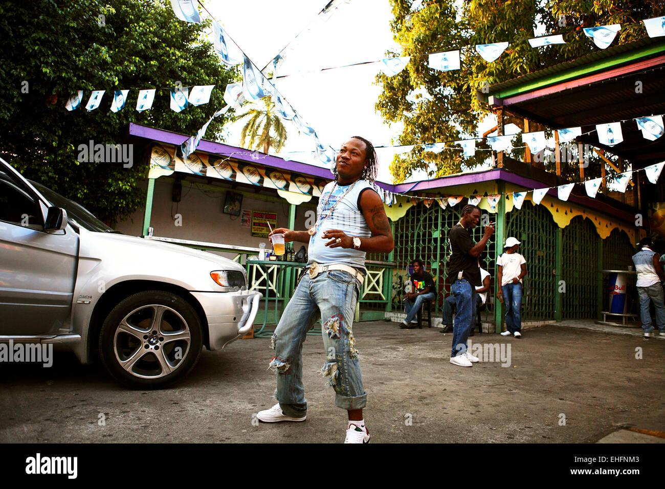 Man dancing at the Stone Love Studios Kingston Jamaica. - Stock Image