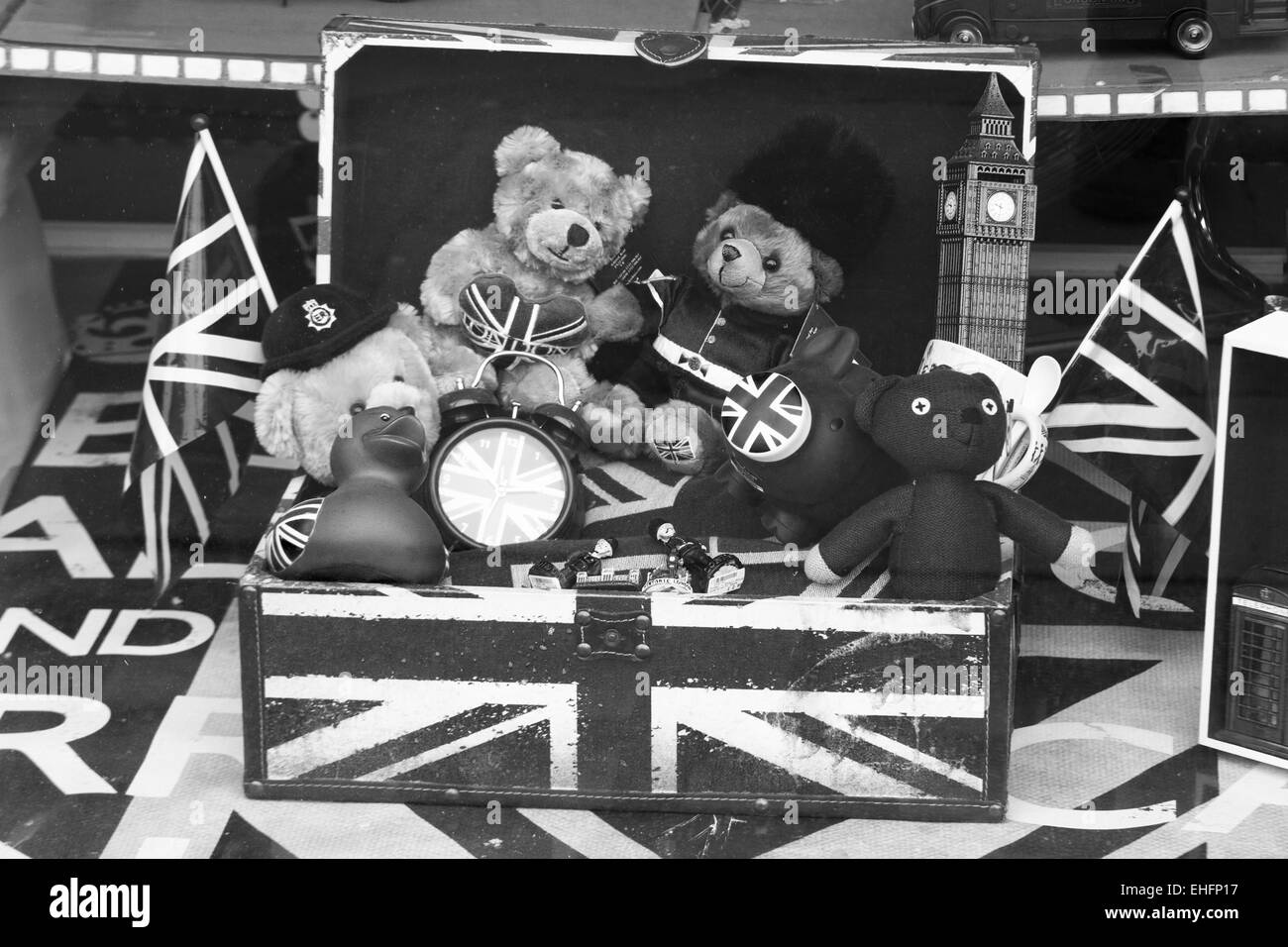 Black and white Toys In A Union Jack Toy Box - Stock Image