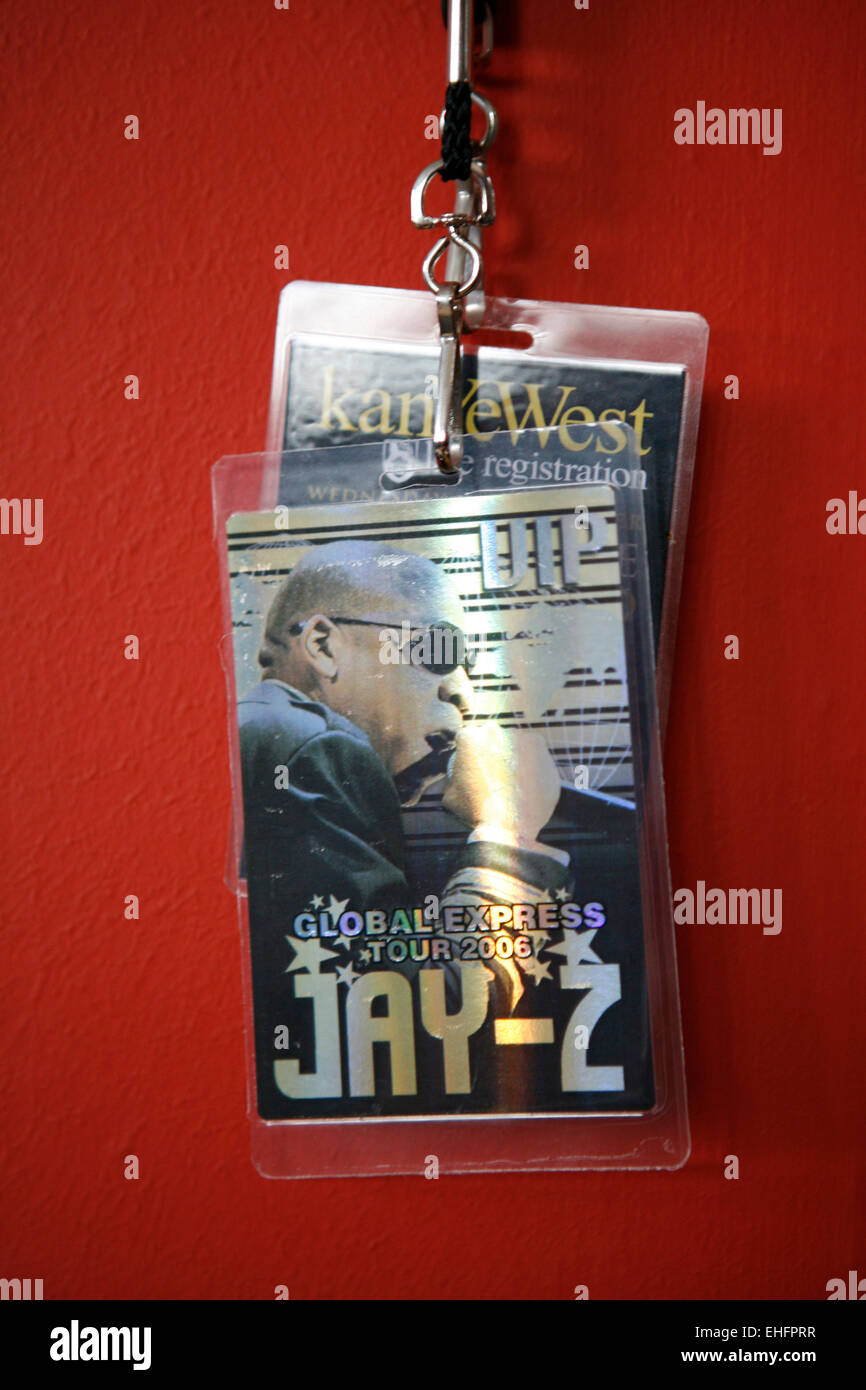 VIP pass for Jay-Z gig at Semtex's house. - Stock Image