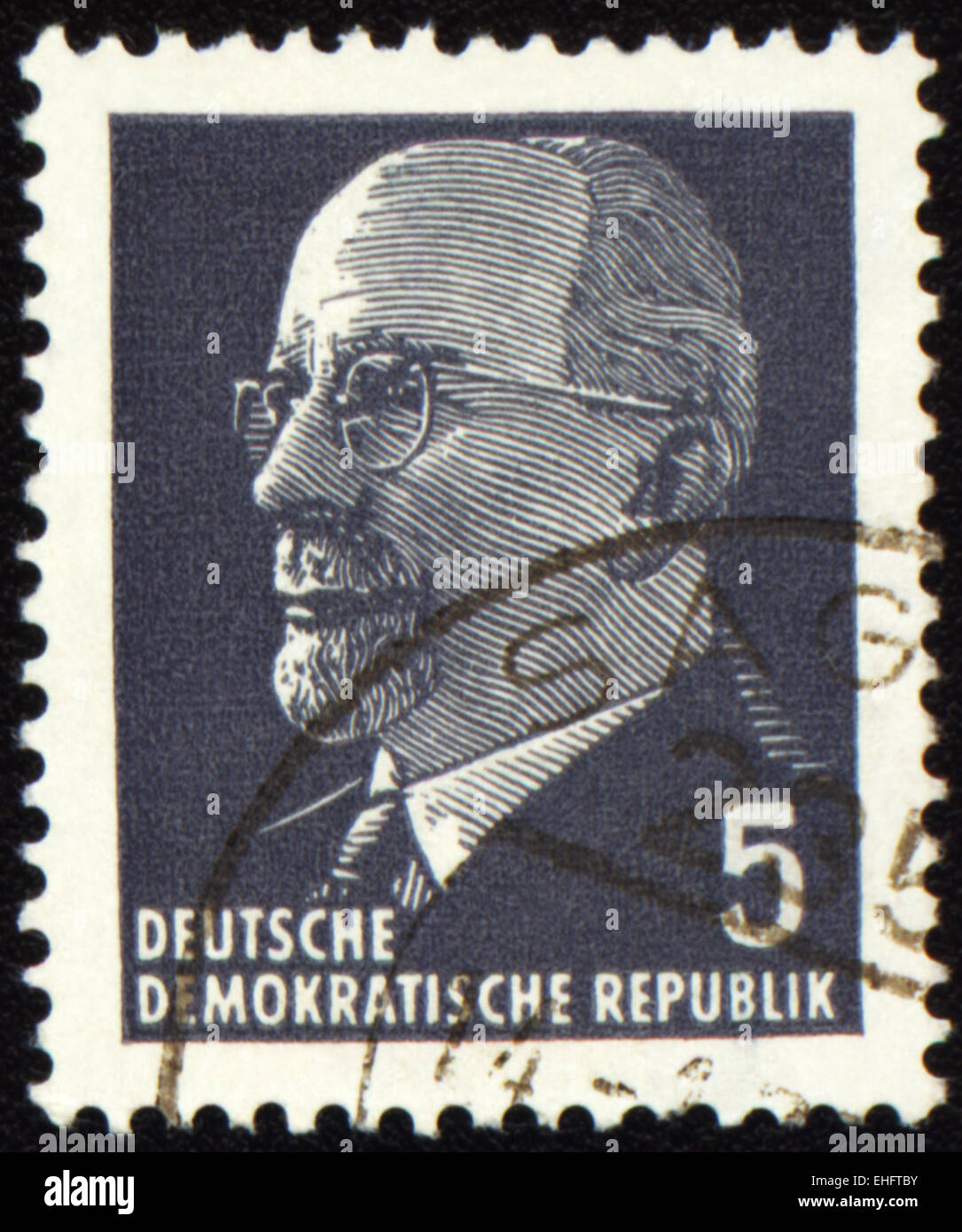 GDR - CIRCA 1971: A stamp printed in GDR (East Germany) shows Chairman Walter Ulbricht portrait - Stock Image