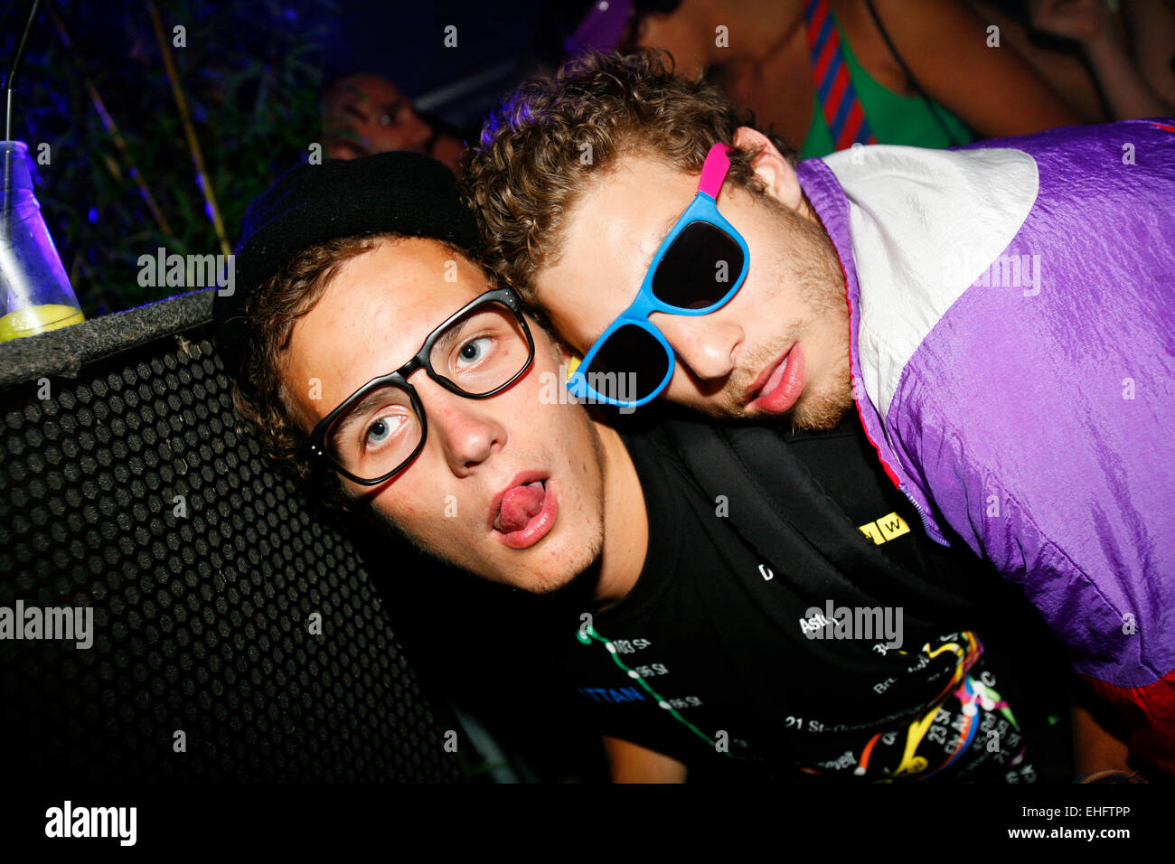 Two mates in sunglasses at TDK Cross Central Festival 2007 at Canvas in Kings Cross in London. - Stock Image