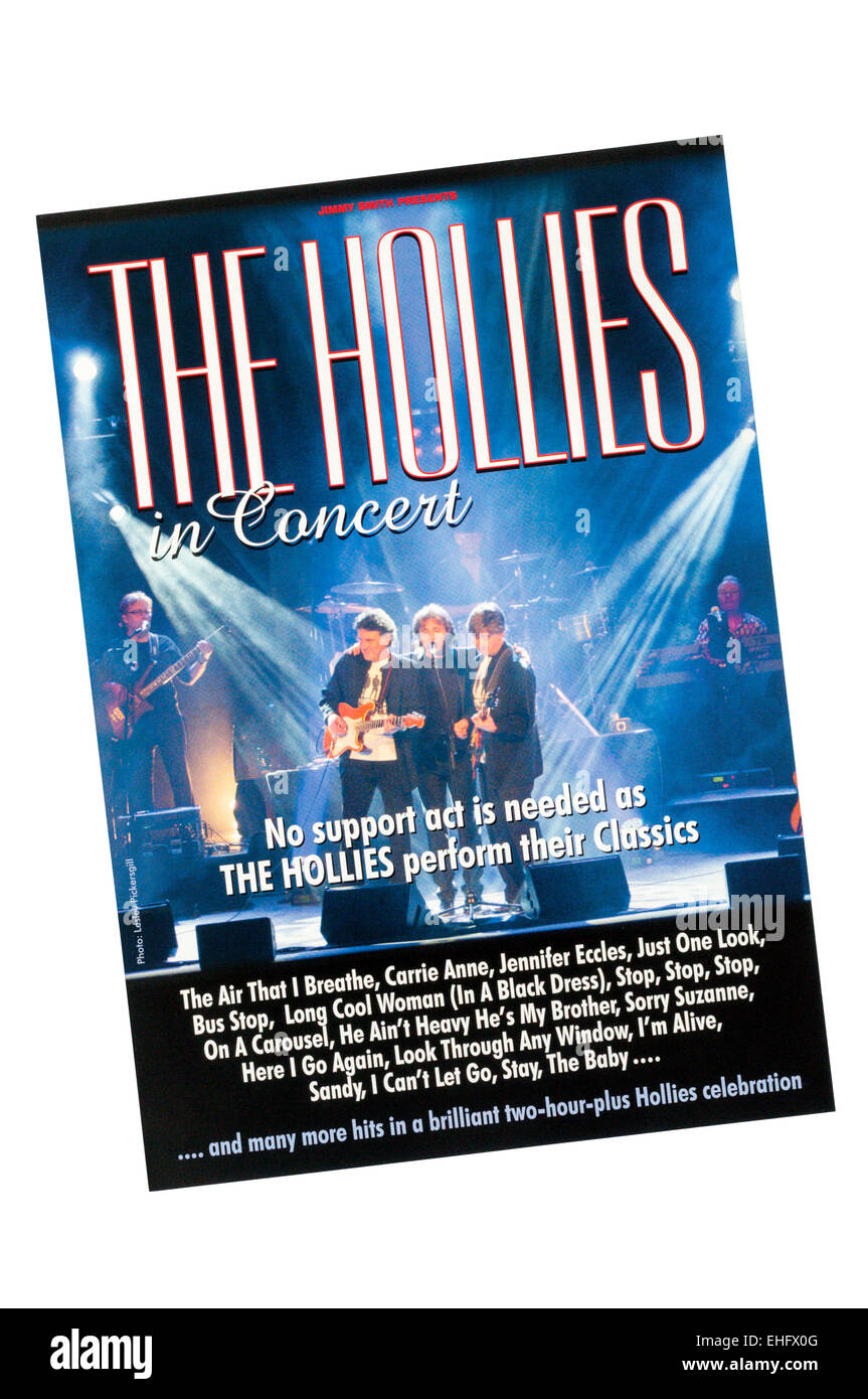 Promotional flyer for 2015 appearance of The Hollies. - Stock Image