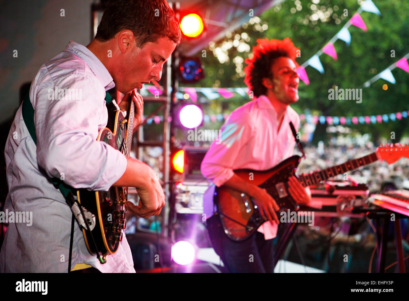 Battles live at Field Day festival in Victoria Park London. - Stock Image