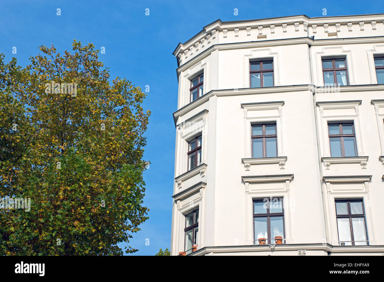Green tree and white town house - Stock Image