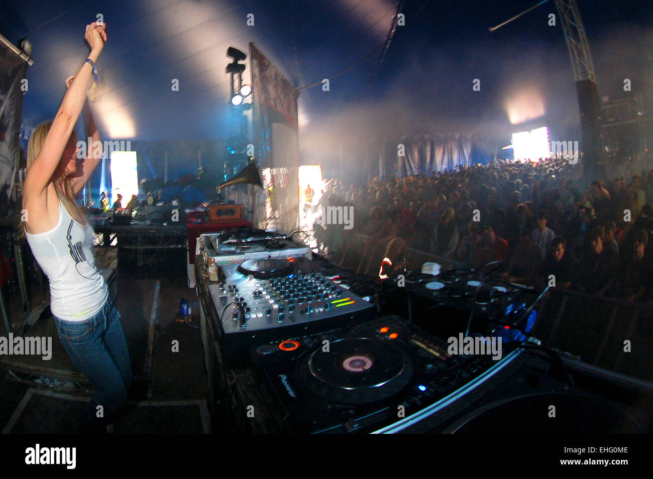 Mary Ann Hobbs DJing at The Glade Festival. - Stock Image