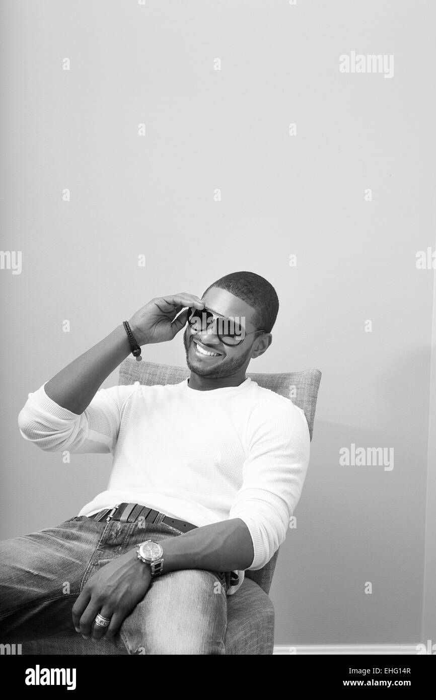 Usher photographed at The Beverley Wilshire Hotel in Los Angeles. - Stock Image