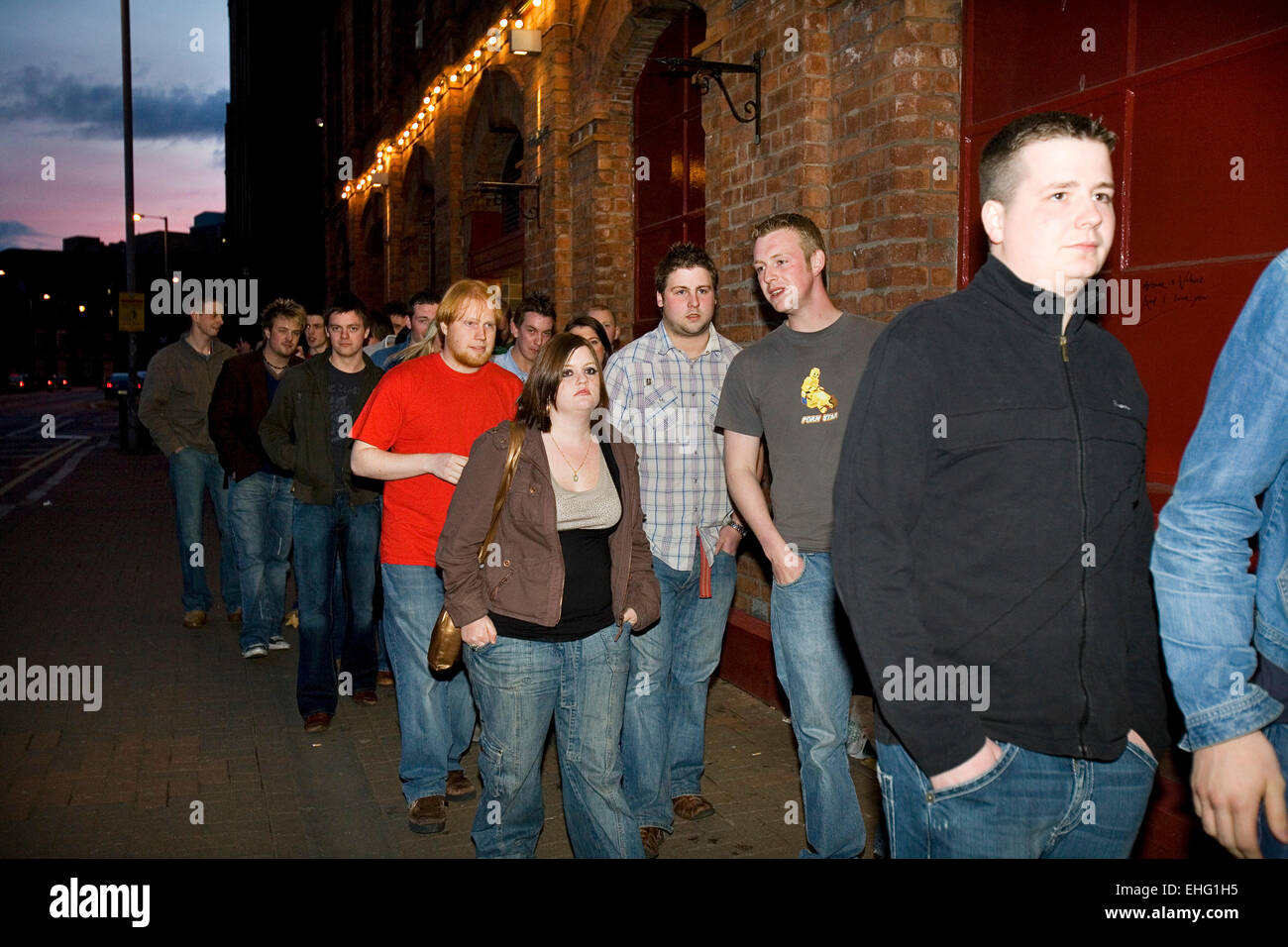 Queue for a gig in Belfast. - Stock Image