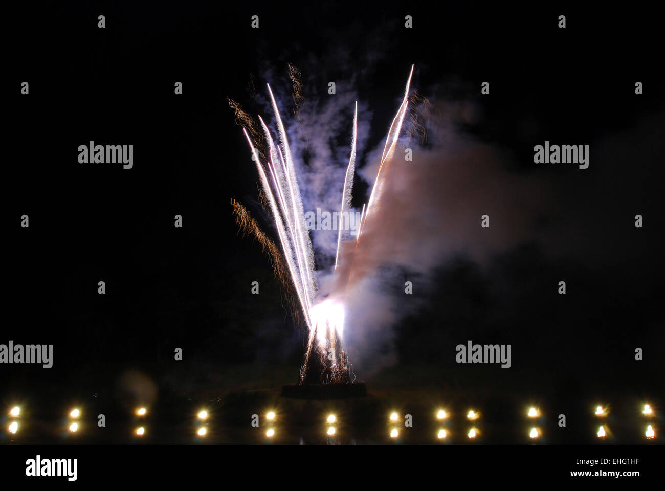 Fireworks at the Big Chill festival 2008. - Stock Image