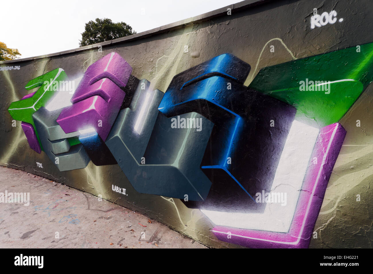 Close-up view of some Graffiti art, in the Skate-park,  Alaxandra Park, Haringey, London - Stock Image