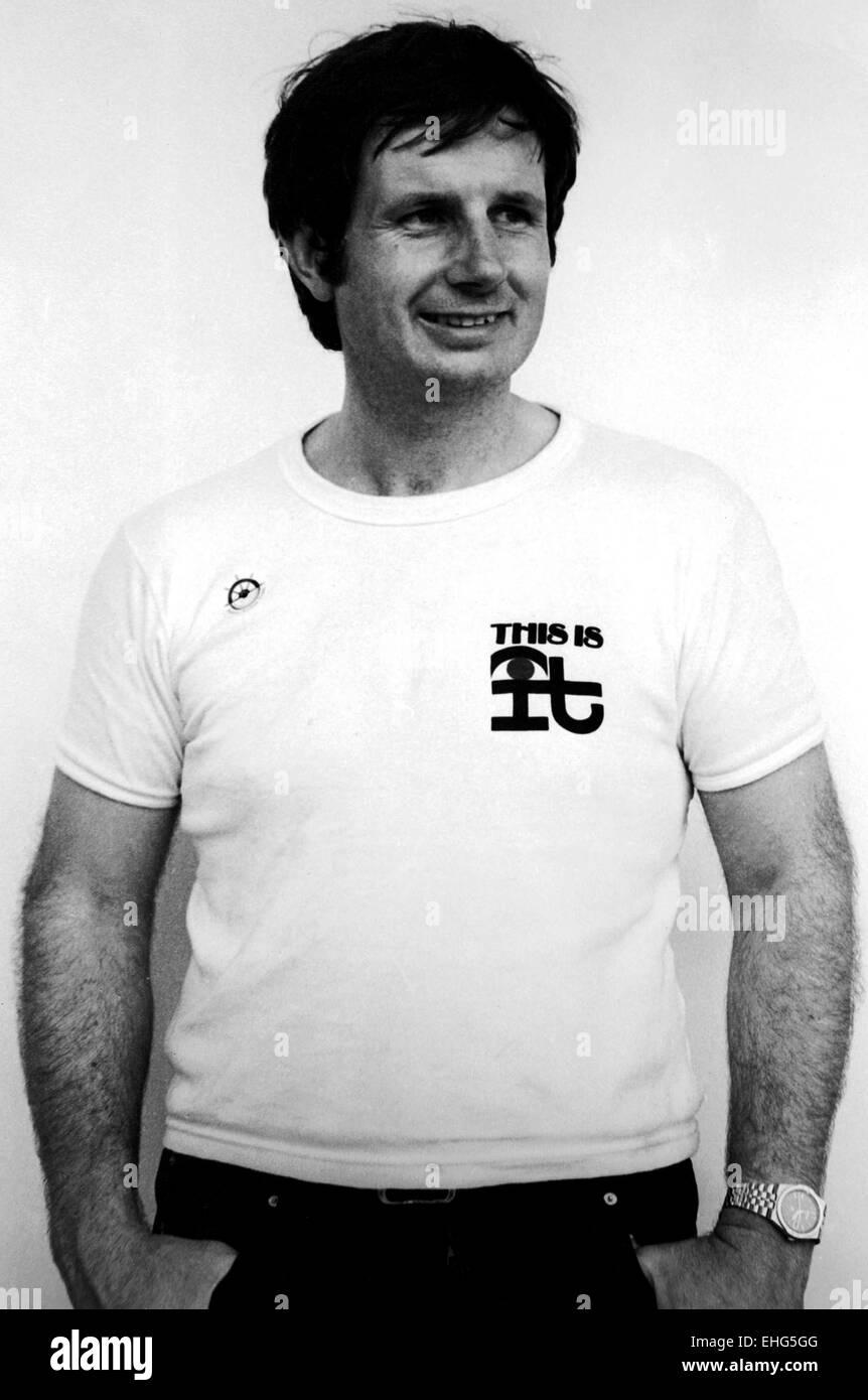 AJAXNETPHOTO - 2ND JUNE, 1984. PLYMOUTH, ENGLAND. - OSTAR RACE - YACHT DESIGNER - MULTIHULLS DESIGNER NIGEL IRENS - Stock Image