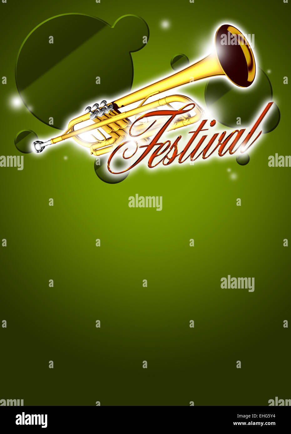 Abstract trumpet music invitation poster or flyer bacground with space - Stock Image