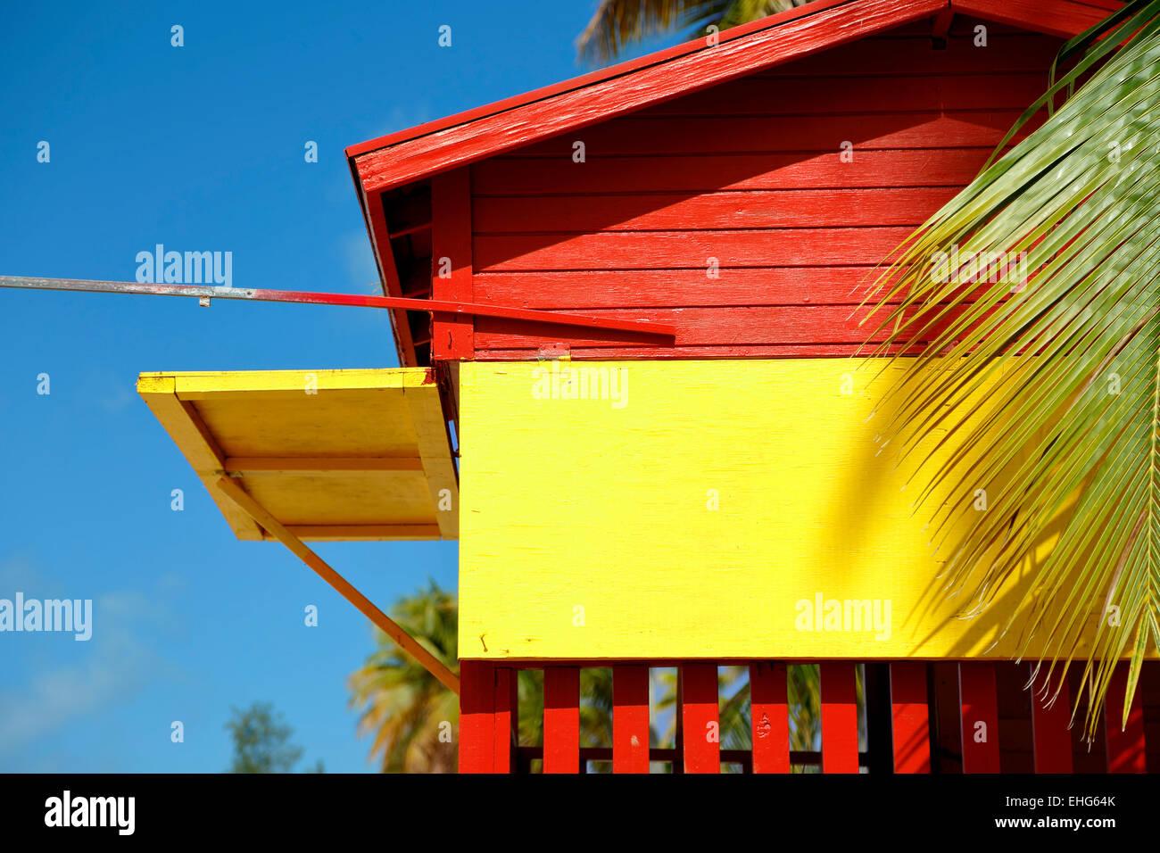 Lifeguard house, Luquillo Public Beach, Luquillo, Puerto Rico - Stock Image