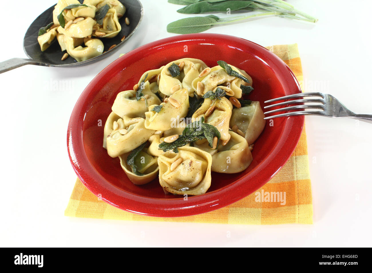 cooked Tortellini with sage butter Stock Photo: 79646797 - Alamy